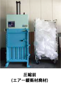 10トンの圧縮力で、復元しやすいウレタン材や潰れにくいエアー緩衝材などを強力圧縮。ゴミ収集回数の削減やゴミの保管庫の省スペース化に大きく貢献します。